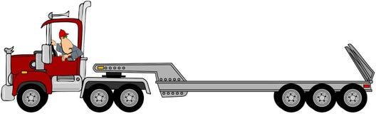 Autista che fa retromarcia un rimorchio di trattore Immagini Stock