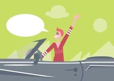 Autista di automobile divertente dell'uomo dei fumetti del fumetto con una mano sul concetto automatico Fotografia Stock