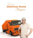 Autista di camion arancio Fotografia Stock Libera da Diritti