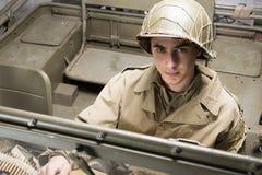Autista di un veicolo militare della seconda guerra mondiale Immagine Stock Libera da Diritti