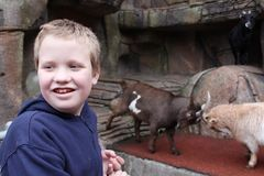 Autistic Boy at the Petting Zoo. Autistic boy standing in front of the goat at a petting zoo Stock Photo