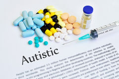 Autistic disease. Syringe with drugs for autistic disease Royalty Free Stock Photography