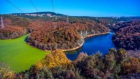 Autmn nedgångNovember färgrikt landskap arkivbilder