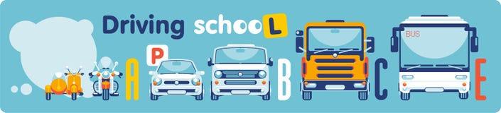 Auto-école sur des catégories de transport illustration libre de droits