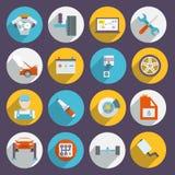 Auto ícones do serviço lisos Foto de Stock