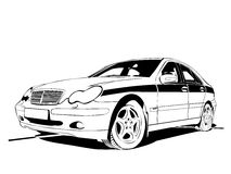 Auto. Vector car black colour on white background Royalty Free Stock Image