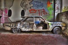 Auto abbandonata laterale. Car abandoned inside of a factory outside Bologna Royalty Free Stock Photography