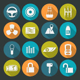 Auto accessories icons set. Colors plate. Auto accessories and  tuning. Icons set in a flat style on the color plate and long shadow Stock Photos