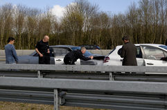 Auto accident on Germnay motorway Royalty Free Stock Photos