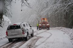 Auto Accident In The Snow Stock Photography