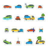 Auto accident involving car crash city street vector illustration. Car crash collision traffic insurance and car crash safety automobile emergency disaster. Car Stock Images