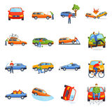 Auto accident involving car crash city street vector illustration. Car crash collision traffic insurance and car crash safety automobile emergency disaster. Car Royalty Free Stock Photos