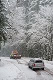 Auto accident in the snow Stock Image