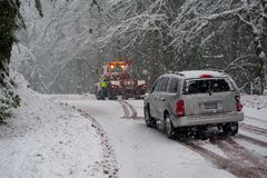 Auto accident in the snow Stock Photos