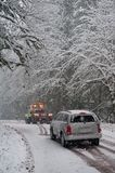 Auto accident in the snow Royalty Free Stock Photography