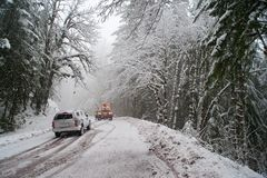 Auto accident in the snow Royalty Free Stock Photos
