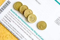 Auto Assesment da declaração de rendimentos Foto de Stock