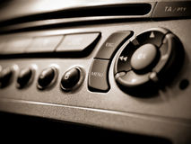 Auto audio control buttons. In a car royalty free stock photos