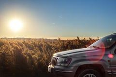 Auto auf dem Gebiet auf Sonnenuntergang Lizenzfreie Stockfotos