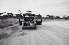 Auto auf dem Nullabor Stockfotografie