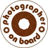 Auto-Aufkleberweiß des Fotografen an Bord Stockfoto