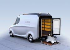 Auto-azionamento del robot di consegna su van& x27; ascensore della coda di s royalty illustrazione gratis
