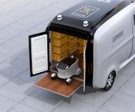 Auto-azionamento del robot di consegna su van& x27; ascensore della coda di s illustrazione vettoriale