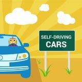 Auto-azionamento dell'automobile con l'illustrazione pazza di vettore del droid Immagini Stock