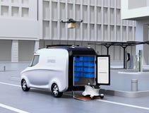 Auto-azionamento furgone, fuco e del robot sulla via illustrazione di stock
