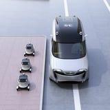 Auto-azionamento i robot e del furgone di consegna illustrazione vettoriale