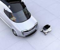 Auto-azionamento il robot di consegna e del furgone di consegna illustrazione di stock