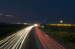 Auto Bahn. Long exposure photo on the Romanian A1 autobahn Royalty Free Stock Photography