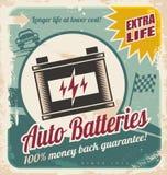Auto batteries vintage poster design. Retro auto batteries poster design. Vintage background for car service or car parts shop Royalty Free Stock Photography