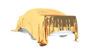 Auto bedeckt mit einem weißen Stoff Wiedergabe 3d Lizenzfreie Stockfotos