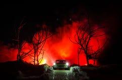 Auto beleuchtet in der Nacht im Kiefernwald mit Schnee Autolichter in der Winterwaldspielzeugdekoration Selektiver Fokus Stockbilder