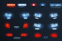 Auto beleuchtet realistischen Satz lizenzfreie abbildung