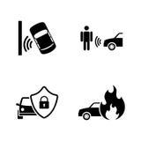 Auto bezpieczeństwo Proste Powiązane Wektorowe ikony ilustracja wektor
