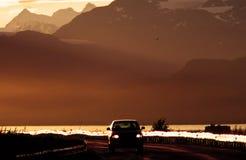 Auto bij dageraad Royalty-vrije Stock Afbeelding