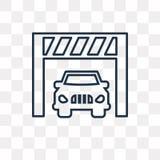 Auto binnen een garage vectordiepictogram op transparante backgrou wordt geïsoleerd royalty-vrije illustratie