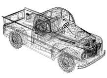 """Auto blauwdruk†""""3D perspectief vector illustratie"""