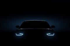 Auto blauwe koplampen, vormconcept stock afbeeldingen