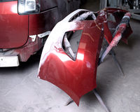 Auto body work. Bumper on stand just ready for sanding and repainting Stock Photos