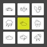 auto, boom, donder, ecologie, zon, wolk, regen, weer, stock illustratie