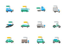 Auto business flat color icons set Stock Photography