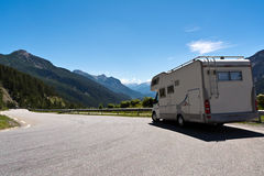 Auto-camper on the road Stock Photography