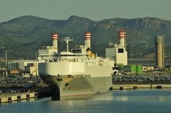 Auto car carrier ship. Designed for transportation of cars Stock Image