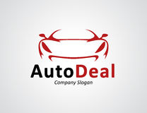 Auto car dealership logo design with concept sports vehicle silhouette. Auto car dealership logo design with front of original concept red sports vehicle Royalty Free Stock Image