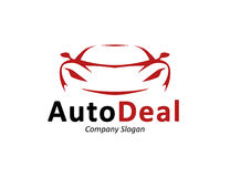 Auto car dealership logo design with concept sports vehicle silhouette. Auto car dealership logo design with front of red sports vehicle silhouette icon concept Stock Images