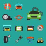 Auto car repair service symbols isolated shop worker maintenance transportation automotive mechanic vector illustration. Royalty Free Stock Photography