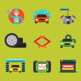 Auto car repair service symbols isolated shop worker maintenance transportation automotive mechanic vector illustration. Stock Image